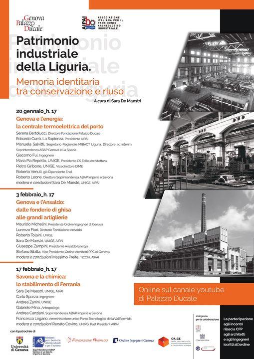 Locandina del ciclo di incontri: Patrimonio industriale della Liguria